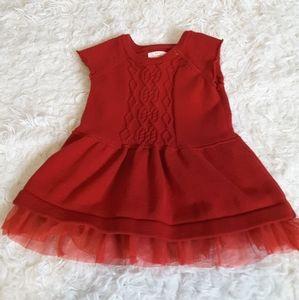 3/$15 Cat & Jack red sweater dress tulle hem 0-3mo